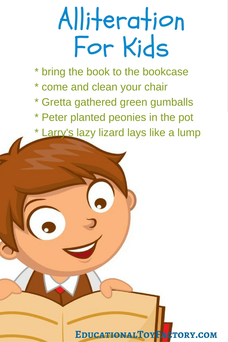 Here are a few examples of alliteration for kids. Click on the image to learn more about this fun way to prepare your child for reading.