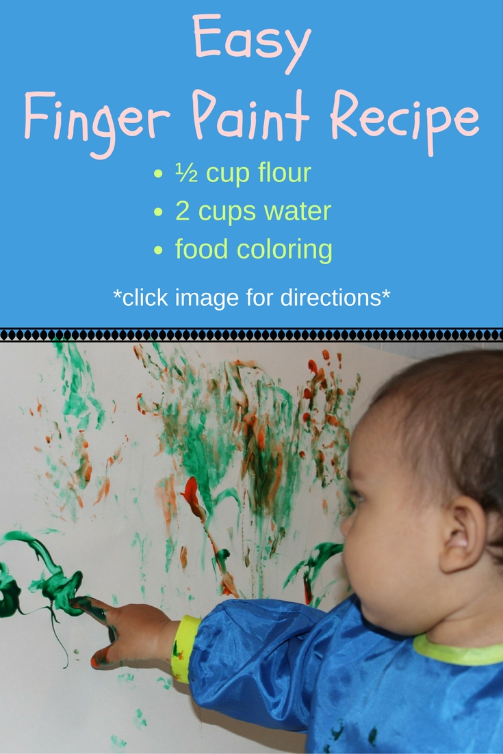 Here's a recipe for homemade finger painting. Your kids will have a blast, and you can relax, since you made it from edible ingredients ;)