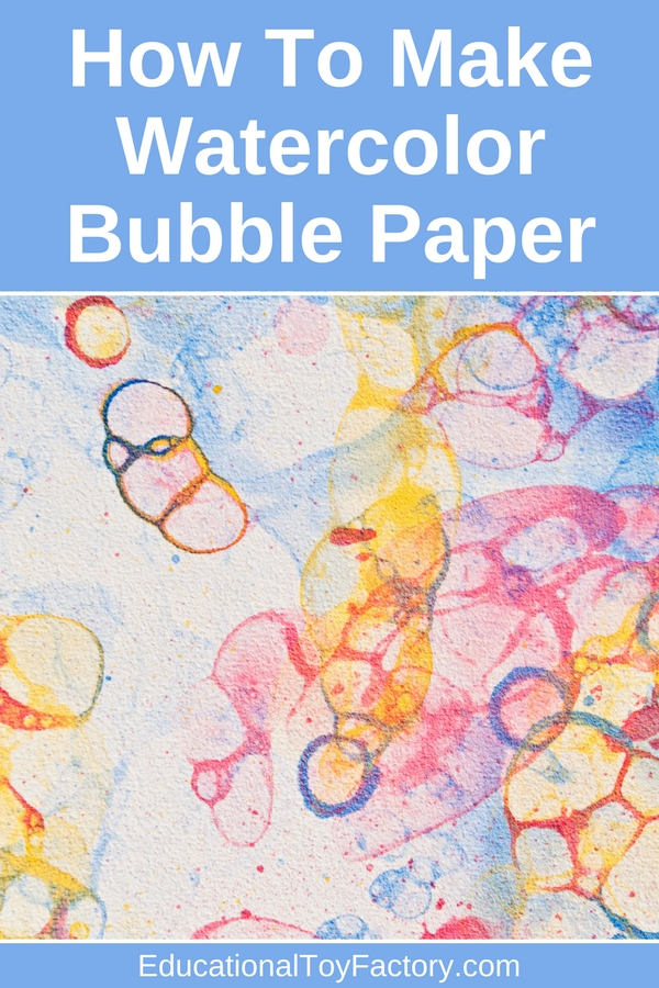 Kids will LOVE this DIY art project idea: mix some colors, make a mess, and you'll end up with beautiful watercolor bubbles on paper. Use this bubble paper to draw, send a letter to a friend, make a mini journal, or cover a special gift.