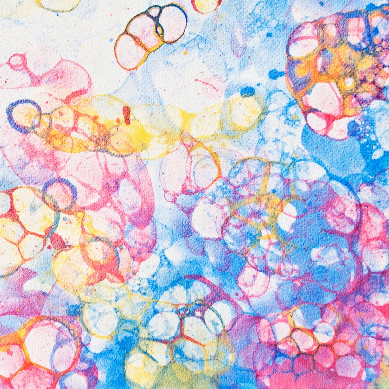 Watercolor bubbles -  learn how to make bubble paper with your kids