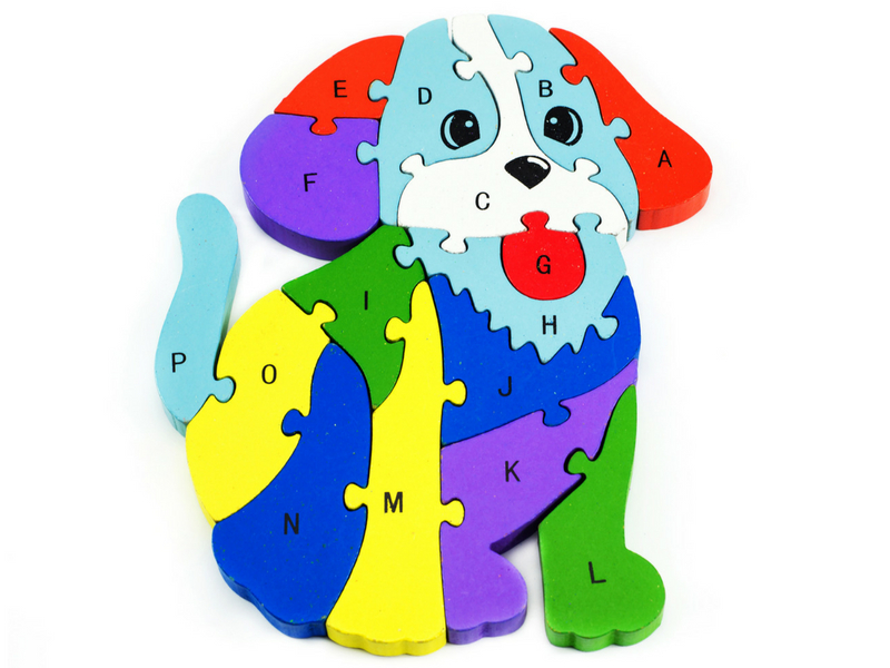 Dog wooden puzzle for kids